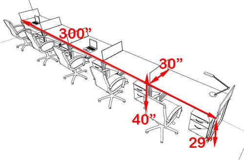 Five Person Modern Acrylic Divider Office Workstation, #AL-OPN-SP67