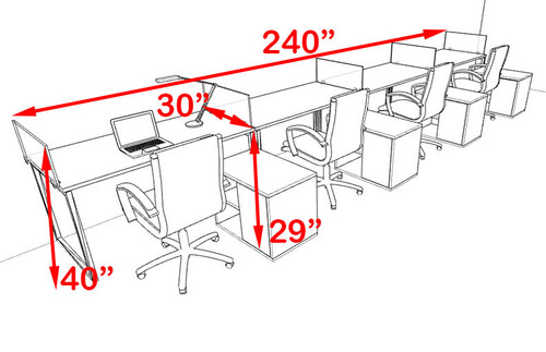 Four Person Modern Acrylic Divider Office Workstation, #AL-OPN-SP96