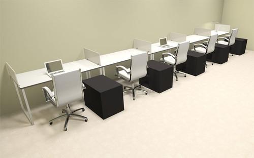 Five Person Modern Acrylic Divider Office Workstation, #AL-OPN-SP97