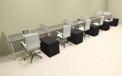 Five Person Modern Acrylic Divider Office Workstation, #AL-OPN-SP98