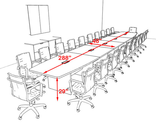Modern Boat Shapedd 24' Feet Conference Table, #OF-CON-C140
