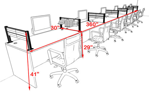 Six Person Modern Aluminum Organizer Divider Office Workstation, #OT-SUL-SPW18