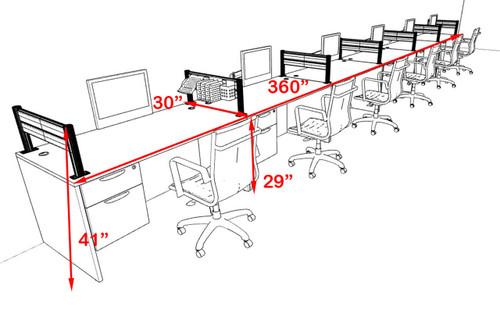 Six Person Modern Aluminum Organizer Divider Office Workstation, #OT-SUL-SPW40