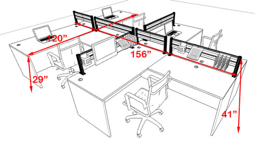 Four Person Modern Aluminum Organizer Divider Office Workstation, #OT-SUL-SPW45