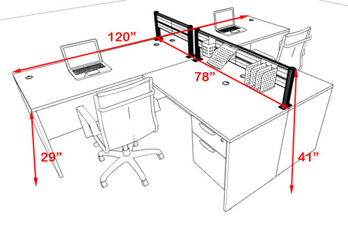 Two Person Modern Aluminum Organizer Divider Office Workstation, #OT-SUL-SPW54