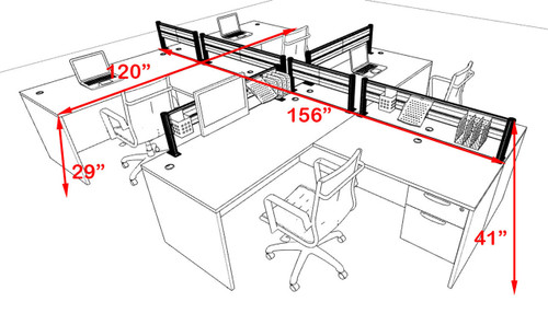 Four Person Modern Aluminum Organizer Divider Office Workstation, #OT-SUL-SPW57