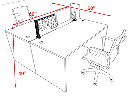 Two Person Modern Aluminum Organizer Divider Office Workstation, #OT-SUL-FPW1