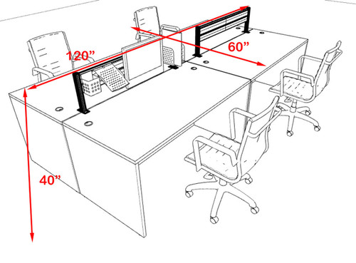 Four Person Modern Aluminum Organizer Divider Office Workstation, #OT-SUL-FPW6