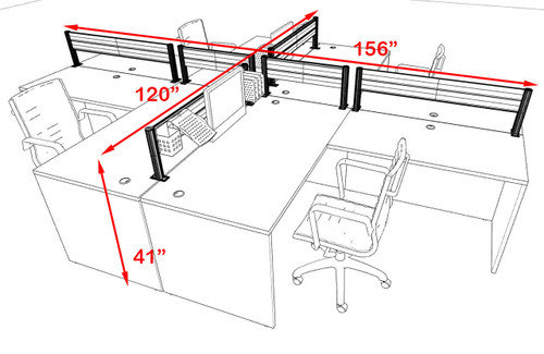 Four Person Modern Aluminum Organizer Divider Office Workstation, #OT-SUL-FPW32