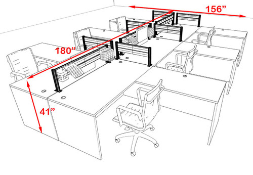 Six Person Modern Aluminum Organizer Divider Office Workstation, #OT-SUL-FPW36