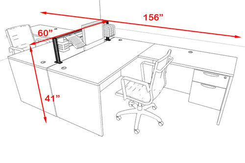 Two Person Modern Aluminum Organizer Divider Office Workstation, #OT-SUL-FPW37