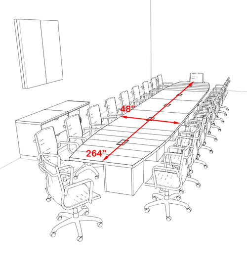 Modern Boat Shaped Cube Leg 22' Feet Conference Table, #OF-CON-CQ70