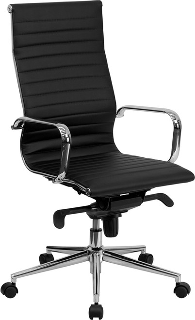 High Back Black Ribbed Upholstered Leather Executive Office Chair , #FF-0166-14