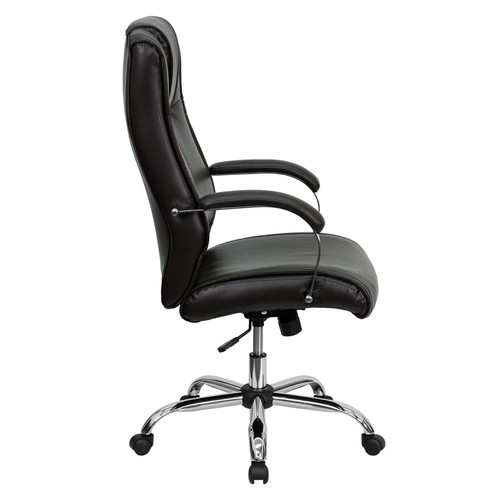 High Back Brown Leather Executive Office Chair , #FF-0220-14