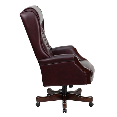 High Back Traditional Tufted Burgundy Leather Executive Office Chair , #FF-0225-14