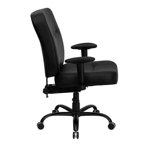Big & Tall 400 lb. Capacity Big and Tall Black Leather Office Chair with Arms and Extra WIDE Seat , #FF-0297-14