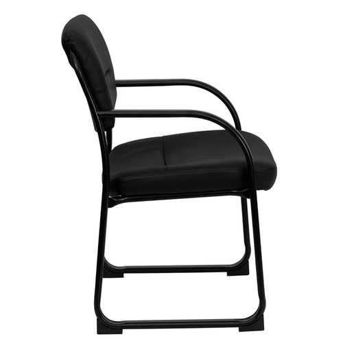Black Leather Executive Side Chair with Sled Base , #FF-0447-14