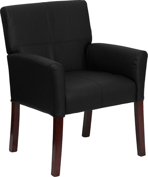 Black Leather Executive Side Chair or Reception Chair with Mahogany Legs , #FF-0451-14