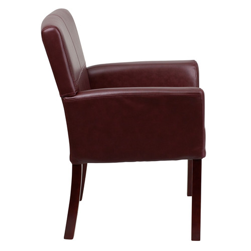 Burgundy Leather Executive Side Chair or Reception Chair with Mahogany Legs , #FF-0452-14