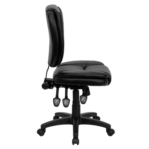 Mid-Back Black Leather Multi-Functional Ergonomic Task Chair , #FF-0327-14