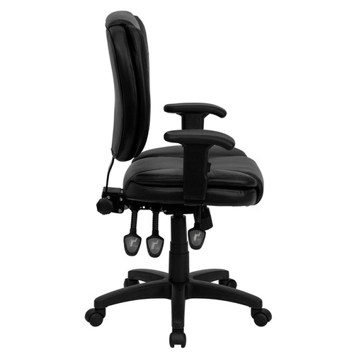 Mid-Back Black Leather Multi-Functional Ergonomic Task Chair with Arms , #FF-0328-14