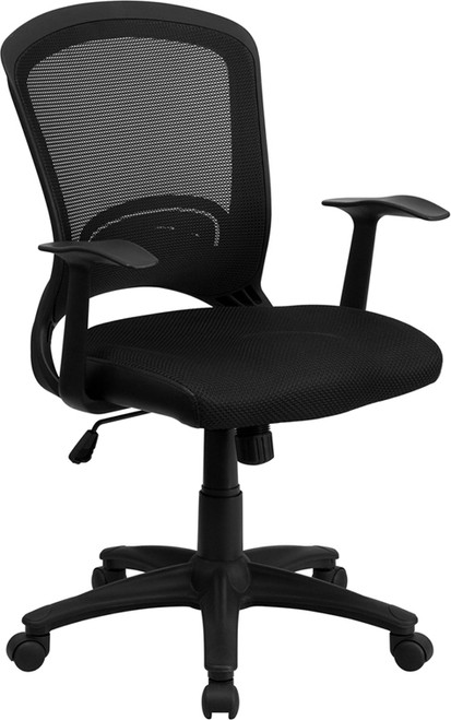 Mid-Back Black Mesh Chair with Padded Mesh Seat , #FF-0012-14