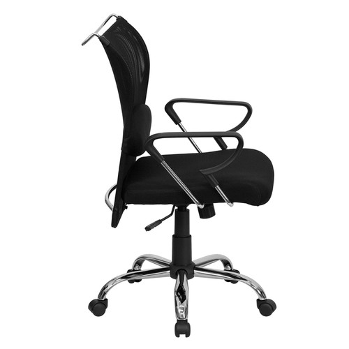 Mid-Back Manager's Chair with Black Mesh Back and Padded Mesh Seat , #FF-0017-14