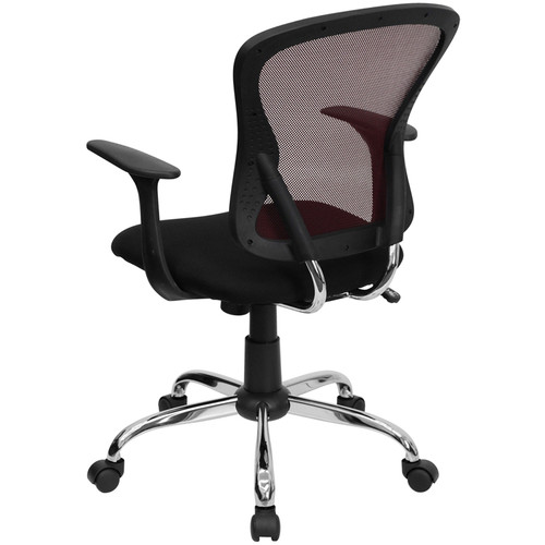 Mid-Back Burgundy Mesh Office Chair with Black Fabric Seat and Chrome Finished Base , #FF-0065-14