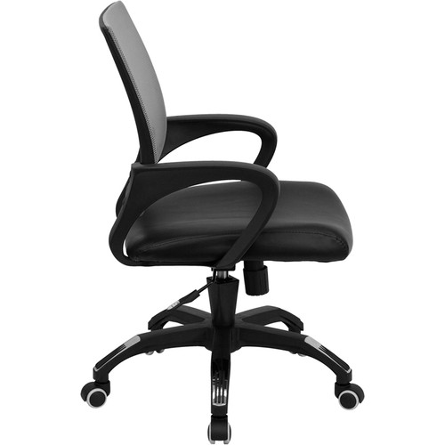 Mid-Back Gray Mesh Computer Chair with Black Leather Seat , #FF-0075-14