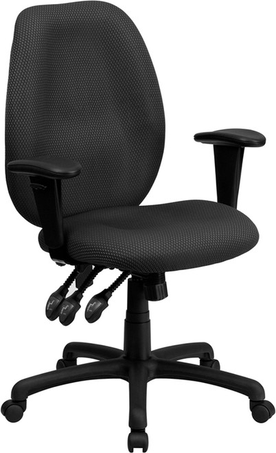 High Back Gray Fabric Multi-Functional Ergonomic Task Chair with Arms , #FF-0324-14