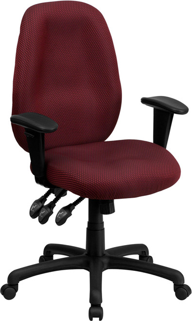 High Back Burgundy Fabric Multi-Functional Ergonomic Task Chair with Arms , #FF-0325-14