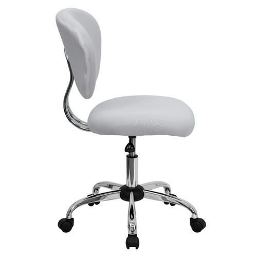 Mid-Back White Mesh Task Chair with Chrome Base , #FF-0134-14