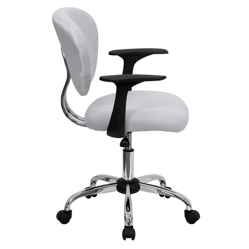Mid-Back White Mesh Task Chair with Arms and Chrome Base , #FF-0136-14
