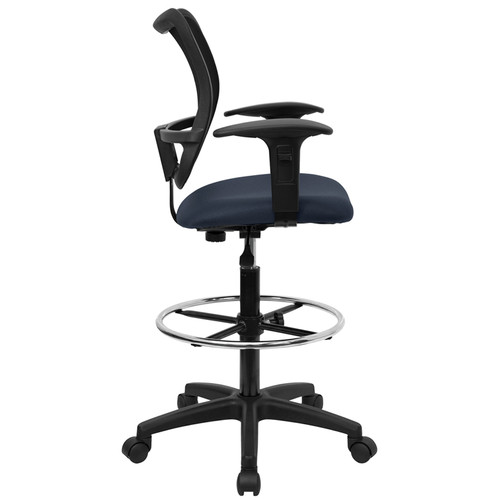 Mid-Back Mesh Drafting Stool with Navy Blue Fabric Seat and Arms , #FF-0525-14