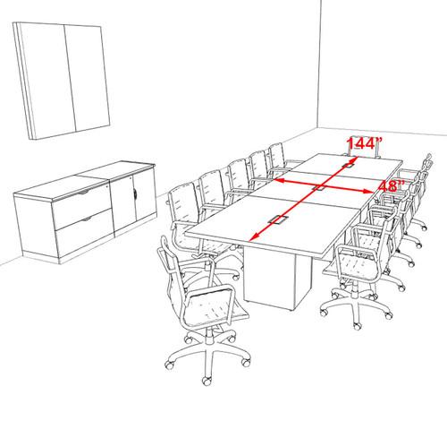Modern Rectangular Top Cube Leg 12' Feet Conference Table, #OF-CON-CS16