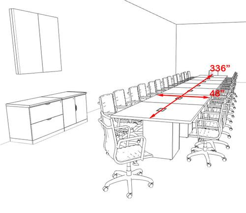 Modern Rectangular Top Cube Leg 28' Feet Conference Table, #OF-CON-CS43