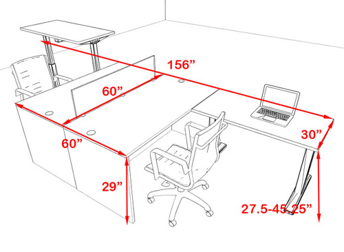 Two Persons Modern Power Height Adjustable Divider Workstation, #OT-SUL-FPH26