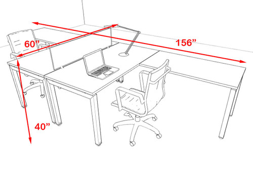 Two Person Modern Divider Office Workstation Desk Set, #OF-CON-FP4