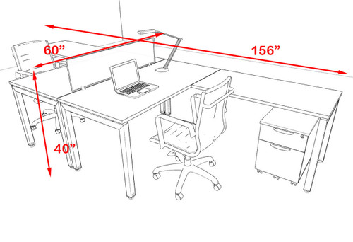 Two Person Modern Divider Office Workstation Desk Set, #OF-CON-FP12
