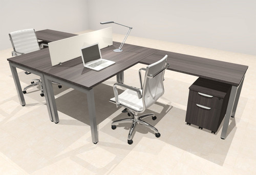 Two Person Modern Divider Office Workstation Desk Set, #OF-CON-FP16