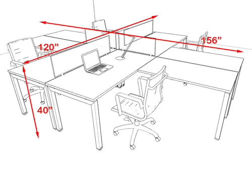 Four Person Modern Divider Office Workstation Desk Set, #OF-CON-FP22