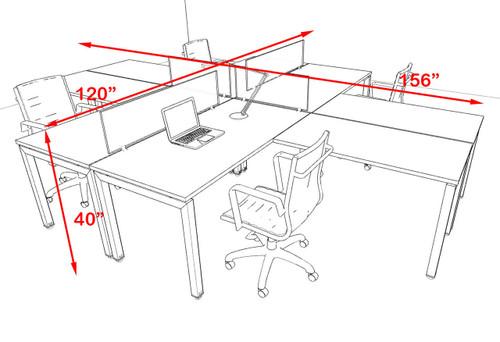 Four Person Modern Divider Office Workstation Desk Set, #OF-CON-FP24