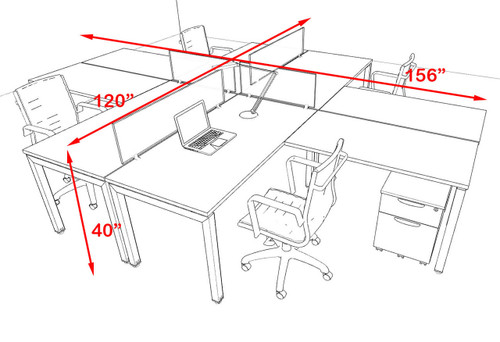 Four Person Modern Divider Office Workstation Desk Set, #OF-CON-FP26