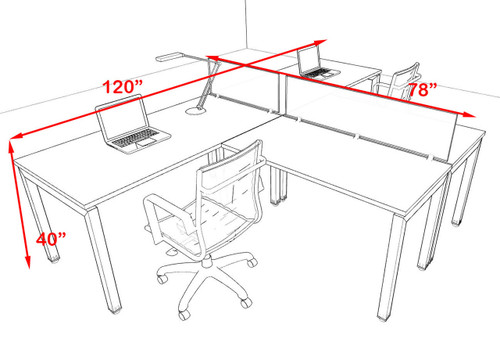 Two Person Modern Divider Office Workstation Desk Set, #OF-CON-SP7