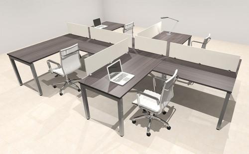 Four Person Modern Divider Office Workstation Desk Set, #OF-CON-SP16