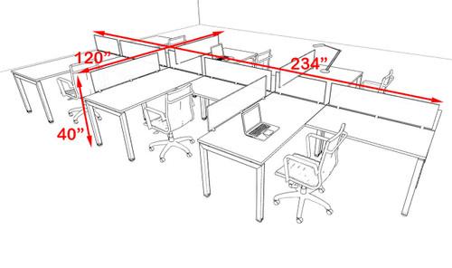 Six Person Modern Divider Office Workstation Desk Set, #OF-CON-SP21