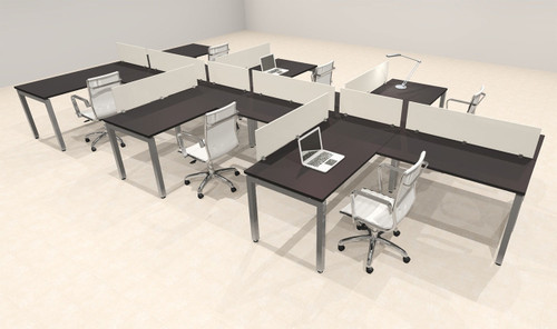 Six Person Modern Divider Office Workstation Desk Set, #OF-CON-SP23