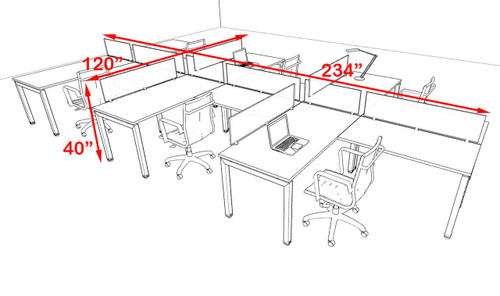 Six Person Modern Divider Office Workstation Desk Set, #OF-CON-SP24