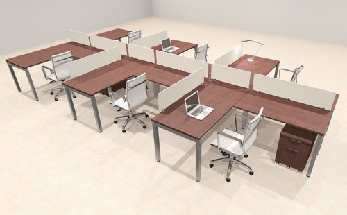 Six Person Modern Divider Office Workstation Desk Set, #OF-CON-SP45