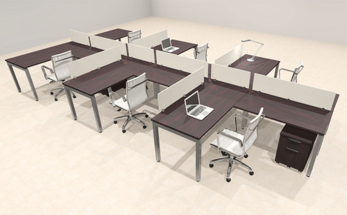 Six Person Modern Divider Office Workstation Desk Set, #OF-CON-SP46
